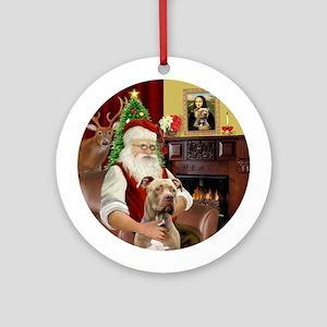 Santa's Pit Bull (brown) Round Ornament