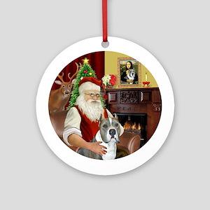 Santa's Pit Bull (gry-W) Round Ornament