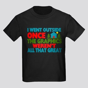 Went Outside Graphics Weren't Gr Kids Dark T-Shirt