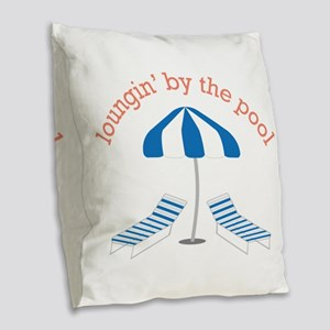 Loungin By The Pool Burlap Throw Pillow