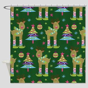 Reindeer Christmas Holiday Shower Curtain