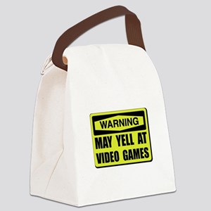 Warning Yell At Video Games Canvas Lunch Bag