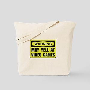 Warning Yell At Video Games Tote Bag