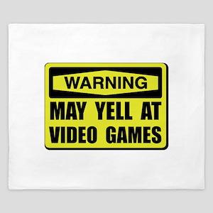 Warning Yell At Video Games King Duvet