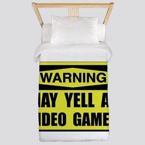Warning Yell At Video Games Twin Duvet