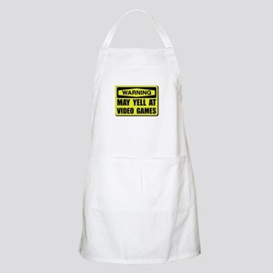 Warning Yell At Video Games Apron