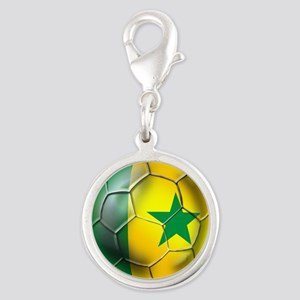 Senegal Football Silver Round Charm