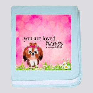 You Are Loved Bible Verse. Shih Tzu baby blanket