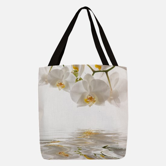 White Orchids Polyester Tote Bag