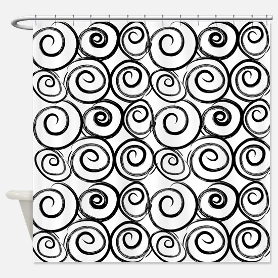 Black And White Swirls Shower Curtain