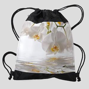 White Orchids Drawstring Bag