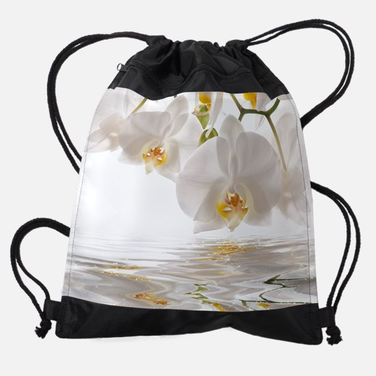 White Orchids Drawstring Bag