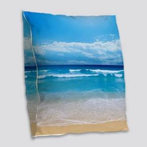 Tropical Wave Burlap Throw Pillow