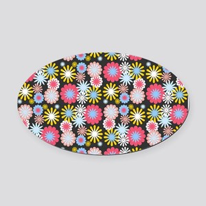 Retro Floral Pattern Oval Car Magnet
