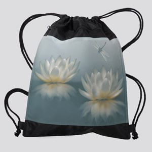 Lotus and Dragonfly Drawstring Bag