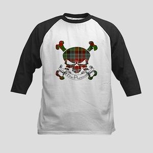 MacPherson Tartan Skull Kids Baseball Jersey