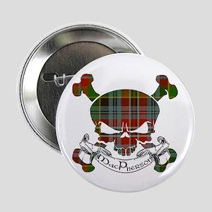 """MacPherson Tartan Skull 2.25"""" Button"""
