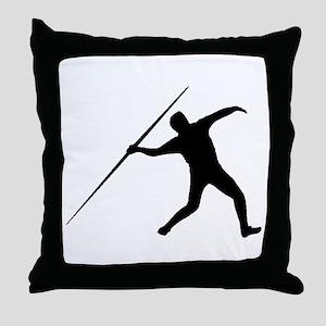 Javelin Throw Silhouette Throw Pillow