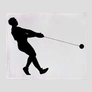Hammer Throw Silhouette Throw Blanket