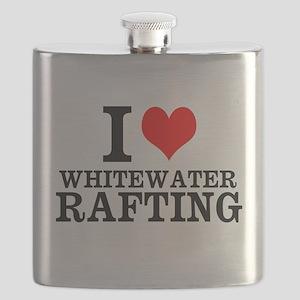 I Love Whitewater Rafting Flask