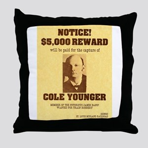 Wanted Cole Younger Throw Pillow