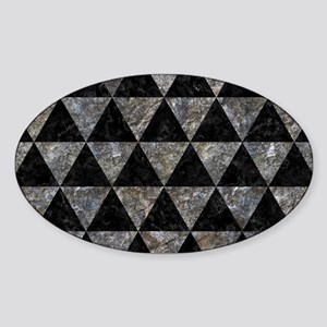 TRIANGLE3 BLACK MARBLE & GRAY STONE Sticker (Oval)
