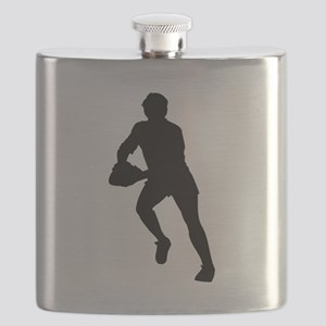 Rugby Player Silhouette Flask