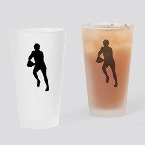 Rugby Player Silhouette Drinking Glass