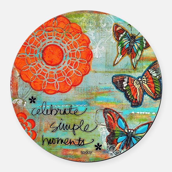 Celebrate Simple Moments Round Car Magnet