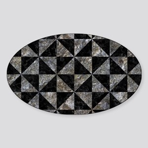 TRIANGLE1 BLACK MARBLE & GRAY STONE Sticker (Oval)