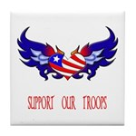 Support our Troops Heart Tile Coaster