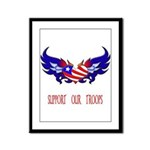 Support our Troops Heart  Framed Panel Print