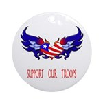 Support our Troops Heart Ornament (Round)
