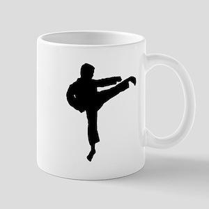 Karate Kick Silhouette Mugs