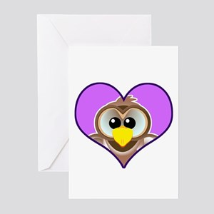 Cute Silly Goofkins Owl in Heart Greeting Cards (P