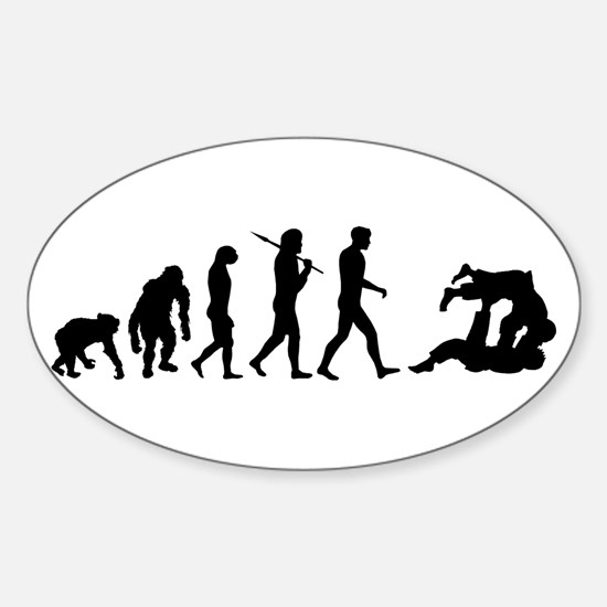 Evolution of Judo Sticker (Oval)