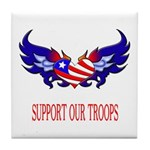 Support Our Troops Heart Flag Tile Coaster