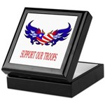 Support Our Troops Heart Flag Keepsake Box