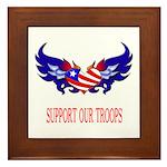 Support Our Troops Heart Flag Framed Tile