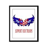 Support Our Troops Heart Flag Framed Panel Print