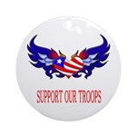Support Our Troops Heart Flag Ornament (Round)
