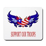 Support Our Troops Heart Flag Mousepad