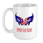 Support Our Troops Heart Flag Large Mug