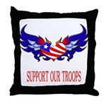 Support Our Troops Heart Flag Throw Pillow