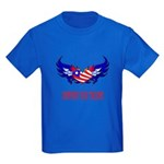 Support Our Troops Heart Flag Kids Dark T-Shirt
