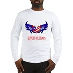 Support Our Troops Heart Flag Long Sleeve T-Shirt