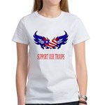 Support Our Troops Heart Flag Women's T-Shirt