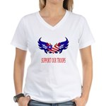 Support Our Troops Heart Flag Women's V-Neck T-Sh