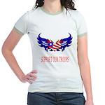 Support Our Troops Heart Flag Jr. Ringer T-Shirt