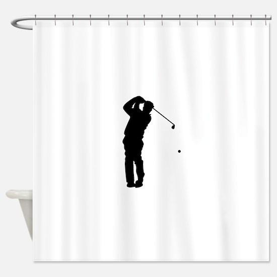 Golfer Silhouette Shower Curtain